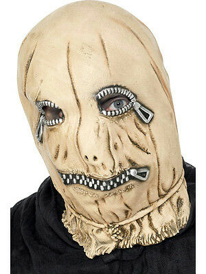 Men's Skin Color Zip Face Overhead Costume Adult Latex Mask with Mock Zippers - Halloween Zip Face Costume