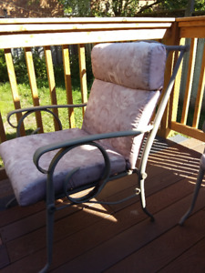 """Patio 50"""" Beveled Glass Table Grey Metal Frame 4 MatchingChairs"""
