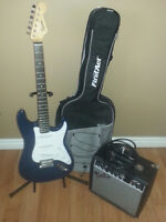 Squier Electric Guitar w/ Amp, Case and Stand (East Van)