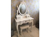 White shabby chic white dressing table and chair dunelm mill tolouse