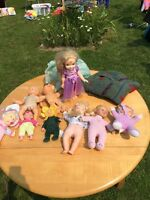 Assorted dolls and houses and stuffed animals