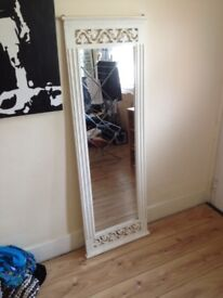 Large full length mirror with wooden frame