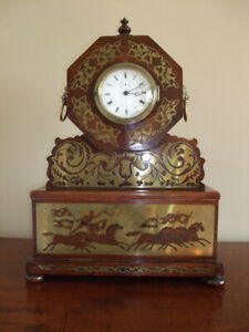 French brass inlaid Rosewood table clock 19th C