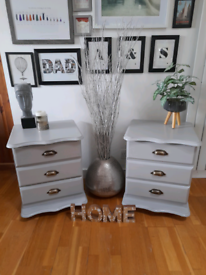 Beautifully Refurbished Pair of Vintage Grey Bedside Chests Tables