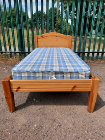 Wooden single bed + mattress (delivery available