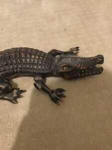 Hand carved alligator made in cuba