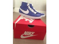 Purple/Blue Denim Nike Blazers, Size UK 3