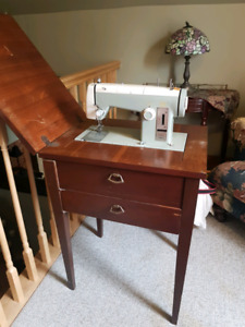 antiques lamp and sewing machine