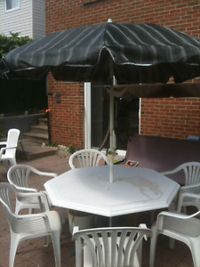 patio table with umbrella and chairs
