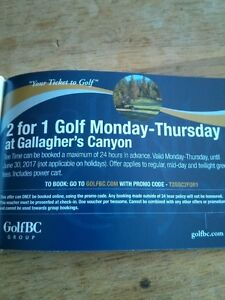 GALLAGHER'S CANYON GOLF 2 FOR 1 COUPONS!!!