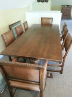 Unique 9 Pc. Solid Oak Dining Room Table and Chairs