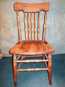 Pressed Back Oak Chairs - set of 4