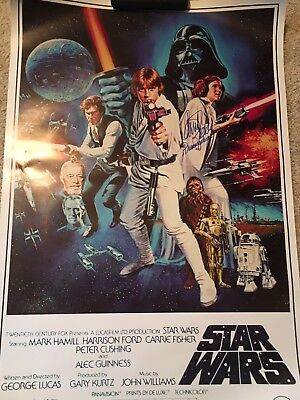 Carrie Fisher Signed Star Wars Full Size Poster Rare  Princess Leia  Inscription