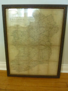 Framed map of Ireland 1864