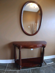 Console table and mirror cherry wood