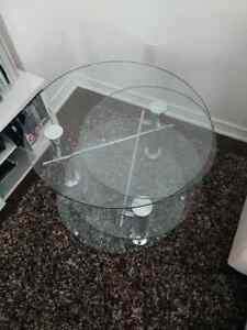 Mobilia glass swivel coffee table