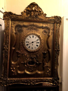 Antique Viennese Gold Giltwood Picture Frame Wall Clock
