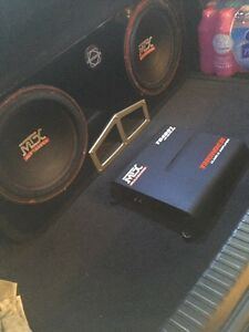^^** MTX SUBS IN BASSWORX BOX WITH MATCHING AMP!!