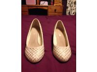 White wedges glitter ladies shoes