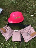Pink hard hat and leather tool belt . Never used.