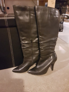 Black Genuine Leather Boots - Aldo