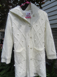 Girl's off white/ivory sweater with hood