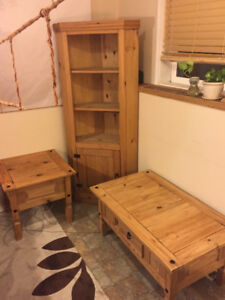 Wooden cafe table and corner bookshelve