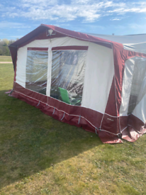 Caravan with awning