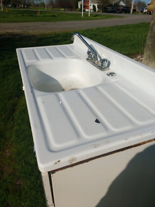 Vintage farm house enamel sink and cupbords