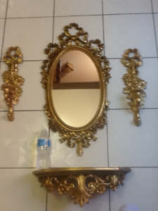 4pc hard to find vintage fancy gold syroco mirror/shelf/sconces