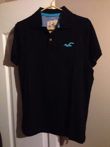 Mens Hollister Polo T-Shirt Navy size XL - fits like Large