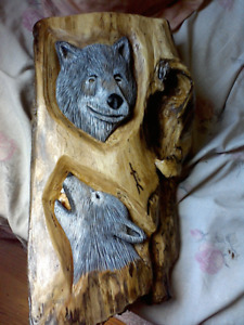 wolf wood relief carvings