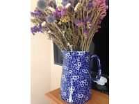 HERON CROSS POTTERY - BLUE & WHITE - FLORAL JUG - LARGE