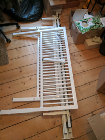 Small double bed frame (white, metal)