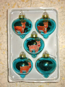 Antique REINDEER CHRISTMAS GLASS ORNAMENTS Hand Crafted