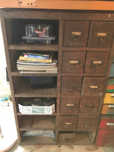 Antique Wooden Drawer Cabinet Storage Cubbie from Old Shop