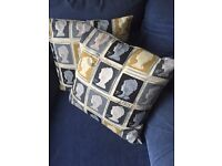 "Set of two postage stamp cushions (16"")"