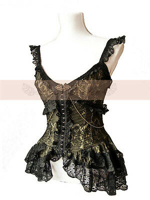 Lolita Gothic Palace Retro Lace Falbala Swallow Tail Black Sun-top Shirt