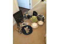 Kettle, toaster, crockery, cutlery pots & pans bundle