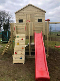 Kids wooden Climbing frame slide playhouse swings rock wall play park