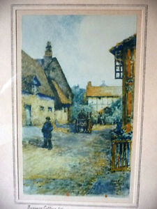 """Street Scene Lithograph by Rhys Jenkins """"Bunyans Cottage Elstow"""" Stratford Kitchener Area image 2"""