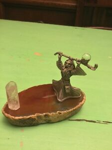 Pewter Wizard and crystal on geode figurine