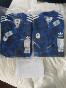 BAPE X ADIDAS TRACK TOP BLUE MEDIUM X2