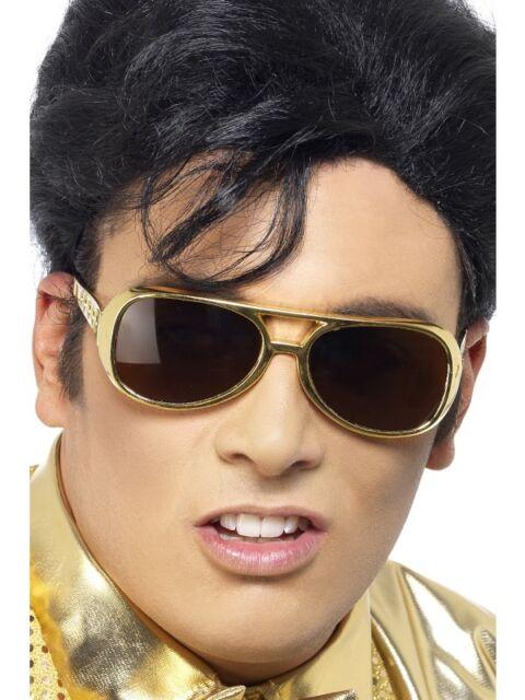 Elvis Brille Gold NEU - Zubehör Accessoire Karneval Fasching