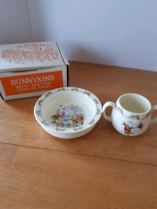 Vintage bunnykins mug bowl set royal doulton