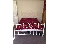 White king size metal bed-frame