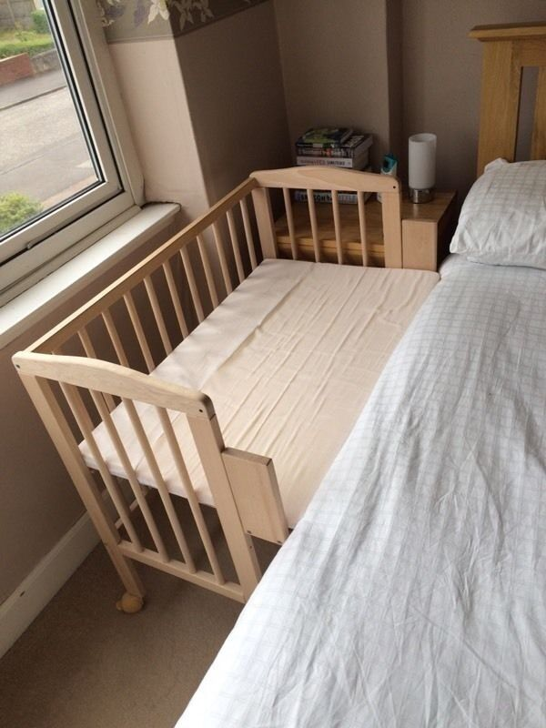 Waldin baby bedside cot co sleeper height adjustable untreated in east finchley london gumtree - Beds attached to the wall ...