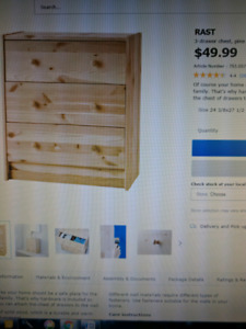 Ikea Rast wood 3 drawer cheat, pine