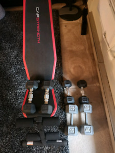 Weight bench w dumbells