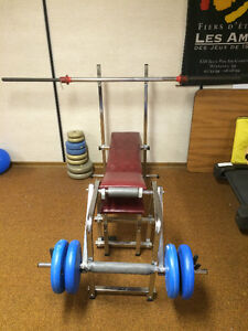 Weight Bench, weights and bar
